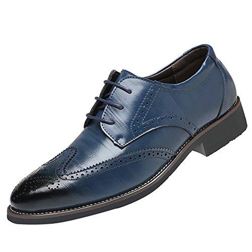 Celucke Herren Business-Schuhe Budapester, Lederschuhe Schnürschuhe Anzugschuhe aus edlem Leder