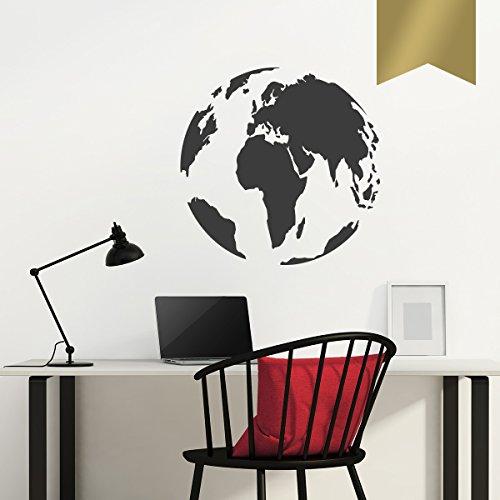 WANDKINGS Wandtattoo - Globus - 70 x 70 cm - Gold - Wähle aus 5 Größen & 35 Farben