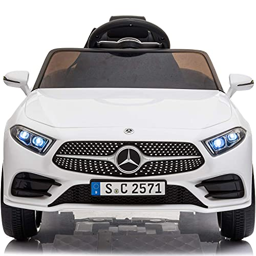 Little Brown Box Kids 12V Licensed Mercedes Benz CLS Ride on Car,Driving Battery Operated Vehicle Toy W/ Parent Remote-Control,Music,Sounds& Lights - for Toddler,Baby,Children,37-95 Months Old - White