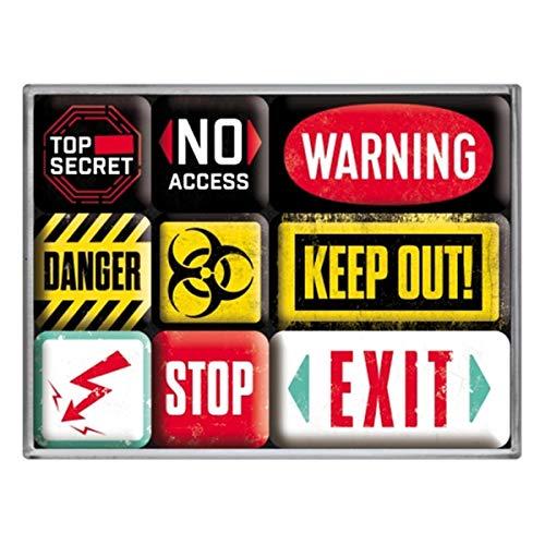 Nostalgic-Art Set di Magneti Vintage Warning – Segnale di avviso per Idea Regalo, Decorazione del Frigorifero, Design nostalgico, 9 Pezzi