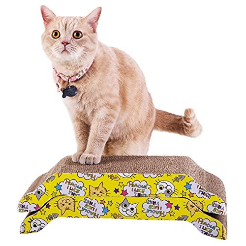PETTOM 2PCS Alfombras Rascadoras para Gatos Tabla Rascador de Cartón para Gatos con Catnip para Cama y Sofá y Parque Infantil (2Psc-43 * 21 * 8.8cm)