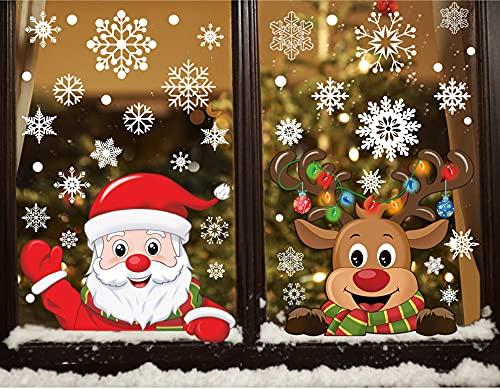 heekpek Natale Vetrofanie Adesivo per Finestra di Natale Faccia Rimovibile Adesivi PVC Murali Fai da Te Finestra Decorazione Vetrina Wallpaper Adesivi Vetrofanie