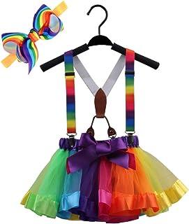 تنورات GUCHOL للفتيات الصغيرات ذات طبقات قوس قزح توتو مع حمالات وأغطية للرأس لأزياء الفتيات (M 4-6 سنوات)