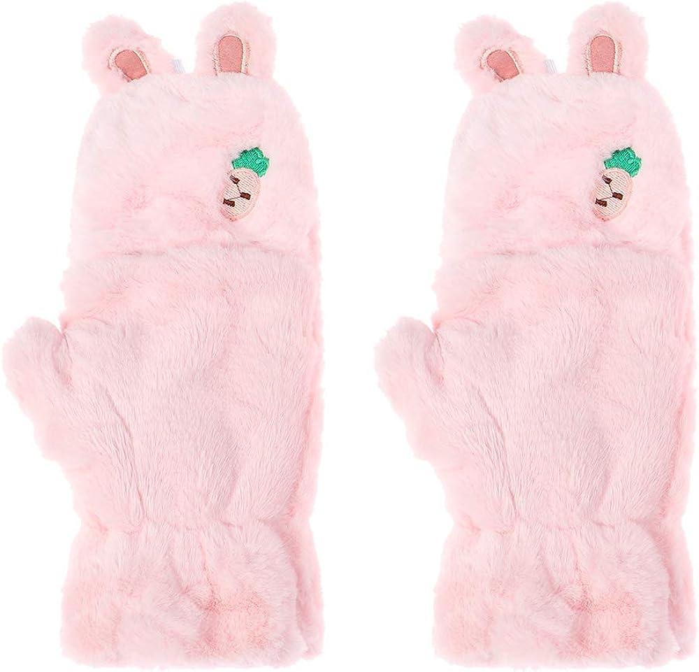 Women Girls Soft Cute Cat Touch screen Gloves Half finger Warm Mittens Plush Thick Faux Rabbit Hair Gloves