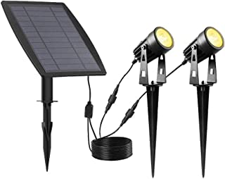 Solar Garden Lights Spotlights Waterproof Landscape Lights Outdoor Spotlights Low Voltage IP65 9.8 Foot Cable Auto On/Off ...