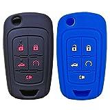 2Pcs Coolbestda Rubber Flip Key Fob Cover Remote Case Skin Jacket Holder Protector for Chevrolet Equinox Camaro Cruze Malibu Sonic Volt Park