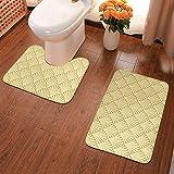 Art Deco Fans - Juego de 2 alfombras de baño doradas, alfombrilla de baño en forma de U, suave franela antideslizante para baño