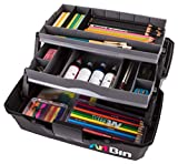 ArtBin 2 Art Supply Box Portable Art & Craft Organizer with Lift-Up Trays [1] Plastic Storage Case Gray/Black