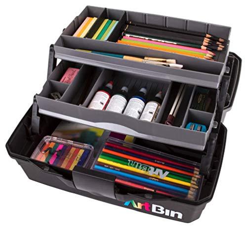 ArtBin 2-Tray Art Supply Box Tragbarer Kunst-und Bastelorganizer mit aufklappbaren Ablagen [1] Kunststoff-Aufbewahrungskoffer grau/schwarz, Nicht zutreffend, Mehrfarbig, Two