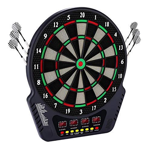 Dartscheibe elektronisch mit 6 Dartpfeilen Dart Kabinett Dartschrank Elektronische Klassische Dartboards (Schwarz)