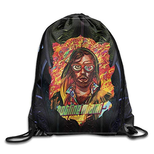 Etryrt Mochilas/Bolsas de Gimnasia,Bolsas de Cuerdas, Creative Design Hotline Miami 2: Wrong Number Game Drawstring Backpack Sport Bag For Men and Women