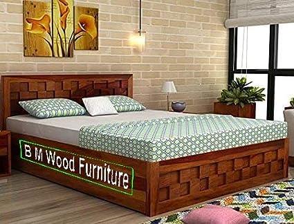 Bm Wood Furniture Single Size Sheesham Wood Bed 6 4 Feet With Storage Honey Teak Finish Brown Amazon In Furniture