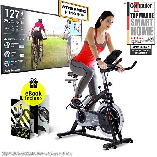 Sportstech Cyclette Professional SX200 - Marchio di qualità Tedesco - Eventi Video e Multiplayer App, volano da 22KG, Supporto Braccia -con Trasmissione a Cinghia- Bici Fino a 125Kg, eBook Gratis