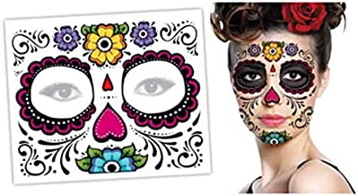 Day of The Dead DIO DE Los Los Muertos Sugar Skull FACE Temporary Tattoo Body Art Metallic Flash Tattoo Body Stickers 3D Body Glam Water Transfer Size Large