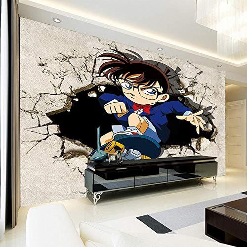 WWMJBH Behang zelfklevende Japanse anime-muurschildering detectief jonge tieners fotobehang kinderen jongen slaapkamer 3D behang muurkunst ruimte woonkamer tv achtergrond behang decoratie 450x300 cm (BxH) 9 Streifen - selbstklebend