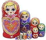Lot de 10Sweet Heart empilage jouet poupée russe faite à la main en bois Jouet pour enfants Chambre d'enfant Décoration de chambre