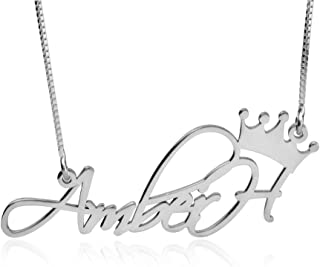 Sterling Silver Crown Name Necklace - Personalized Name Necklace with Crown