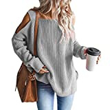 MaQiYa Womens Cold Shoulder Oversized Sweaters Batwing Long Sleeve Chunky Knitted Winter Tunic Tops Grey