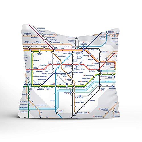 N\A Fundas Decorativas para Cojines para sofá, sofá o Cama, diseño Moderno Mapa Complejo de la Almohada del Metro de Londres.