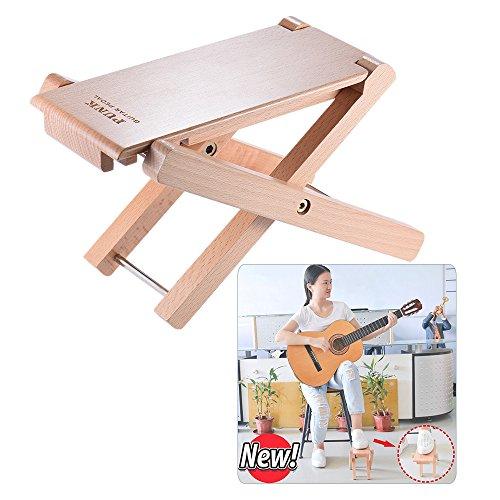 KKmoon Pedal de apoio para pés de guitarra de madeira dobrável e 4 níveis de altura ajustável material de madeira de faia