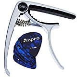 Anpro Guitar Capo for Ukulele, Acoustic and Electric Guitar with 6 Pcs Guitar