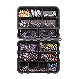 VOANZO Fishing Terminal Tackle, 160 unidades, caja de aparejos de pesca, anzuelos de manivela, anzuelo, sinker de plomo, emerillón trigeminuser, tope, conector, 8 Wort-RNG
