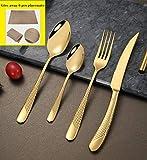SZJY 24pcs cubertería, Juego de Cuchara de Tenedor de Cuchillo de Filete de Acero Inoxidable 304 para Acampar/Viajar/Fiesta, Apto para Lavavajillas-Oro