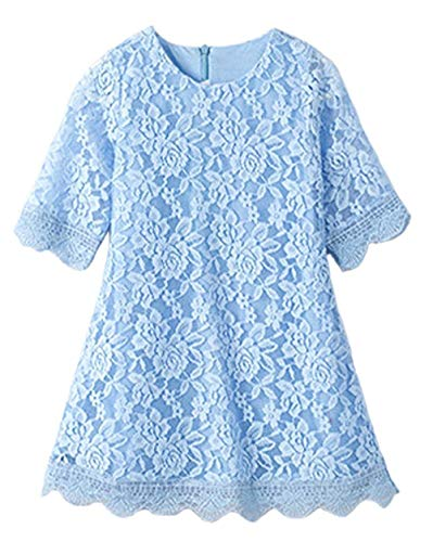 CVERRE Flower Girl Lace Dress Country Dresses with Sleeves 1-6 7-16 (Light Blue,130)