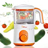 Oursson Cuiseur, Vapeur et Mixeur pour Bébé, Fonction Chauffage, sans BPA, 0.5 Litres, 500 Watts, Orange, BL1050HT/OR