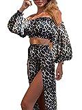 Geagodelia Conjunto de 2 Piezas Bikini Bohemio para Mujer Top de Leopardo Verano Manga Larga Sin Tirantes + Falda a Media Pierna Traje de Baño de Playa Sexy (Gris, Talla única)