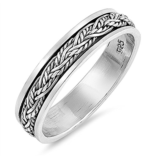 Spinner Celtic Weave Rope Chain Ring New .925 Sterling Silver Band Size 8