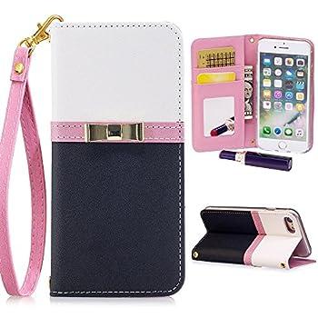 iPhone 6 Plus/6S Plus Wallet Case for Women,Kudex Slim Leather Magnetic Detachable Strap Glitter Floral Design Mirror&Card Slots/Holder Folio Stand Protective Case Black iPhone 6 Plus/ 6s Plus