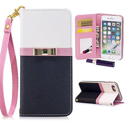 iPhone 6 Plus/6S Plus Wallet Case for Women,Kudex Slim Leather Magnetic Detachable Strap Glitter Floral Design Mirror&Card Slots/Holder Folio Stand Protective Case (Black, iPhone 6 Plus/ 6s Plus)