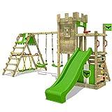 FATMOOSE Parque infantil de madera BoldBaron Boost XXL con columpio SurfSwing y tobogán, Torre de escalada da exterior con arenero y escalera para niños