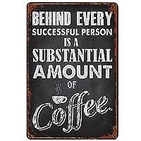 ブリキ メタル プレート サイン 2枚 無料のピンツリー量のコーヒー錫金属看板ウォールアート|カフェ/キッチン/コーヒーコーナー/コーヒーポット用の厚いブリキプリントポスター壁の装飾