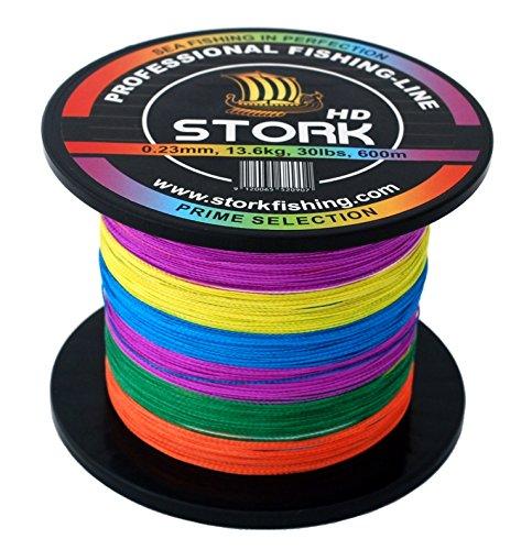 Stork HD, 4-Hilo Trenzado Pesca 600m (Multicolor, 30 lbs / 13.6 kg / 0.23 mm)