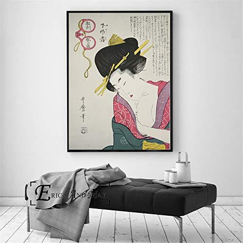 ganlanshu Geisha Japonesa Retro Poster Print Pintura al óleo Mural de la Pared del Arte sobre Lienzo para la decoración de la Sala de Estar,Pintura sin marco-30X40cm