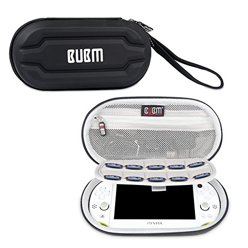 BUBM Storage Hard Case Compatible with Sony PSV, Protective Carrying Bag Compatible with PSV, Portable Hard Travel Organizer Case with Game Card Slots, Black