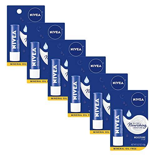 NIVEA Moisture Lip Care - Unisex Intensively Moisturizing Balm - .17 oz. (Pack of 6),Shea Butter and Jojoba oil