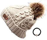 ANGELA & WILLIAM Women's Winter Fleece Lined Cable Knitted Pom Pom Beanie Hat with Hair Tie.(Khaki)