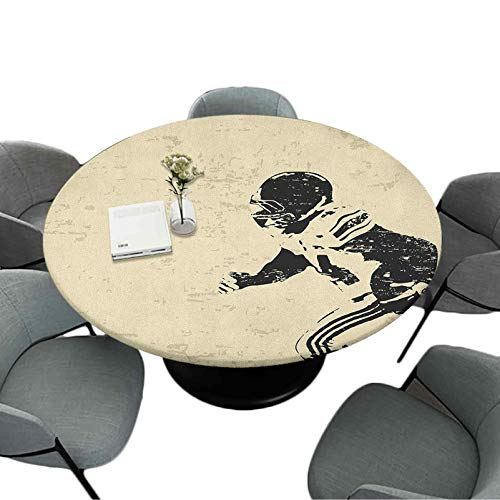 Elastic Edged Round Waterproof Tablecloth, 63 Inch Round Table Cloths for Dining/Party/Camping Indoor, Rugby Player in Action Running Success in Arena Playground Sport Best Team Picture, Beige Black