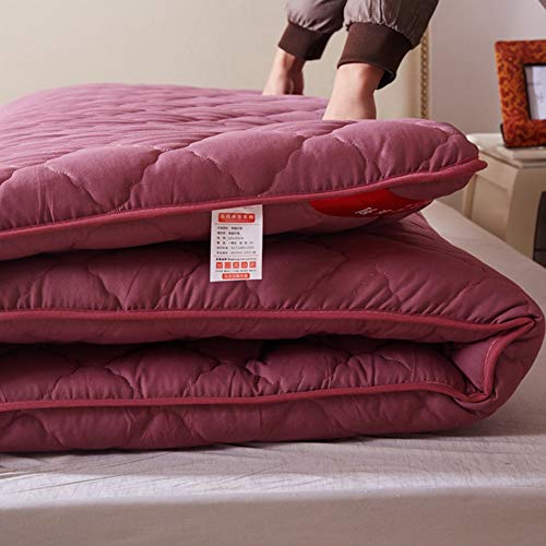 BKX Japonés Suelo Futón Colchón Tatami, Algodón Plegable Ultra Soft Hipoalergénico Acolchado Espesar Funda de colchón Tatami Topper,Pink,90x200cm