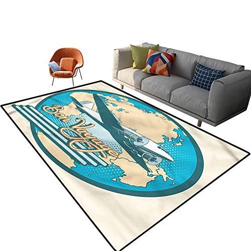 Indoor Room Airplane Area Rugs,6'x 9',Bon Voyage Retro Pop Art Floor Rectangle Rug with Non Slip Backing for Entryway Living Room Bedroom Kids Nursery Sofa Home Decor