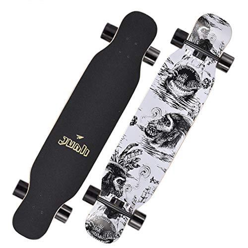 FXMJ 108x20.5cm Longboard, Longboards Bambus Longboards für Cruising, Free-Style, Downhill und Tanzen, Longboards Skateboard für Teenager Erwachsene Anfänger Jungen