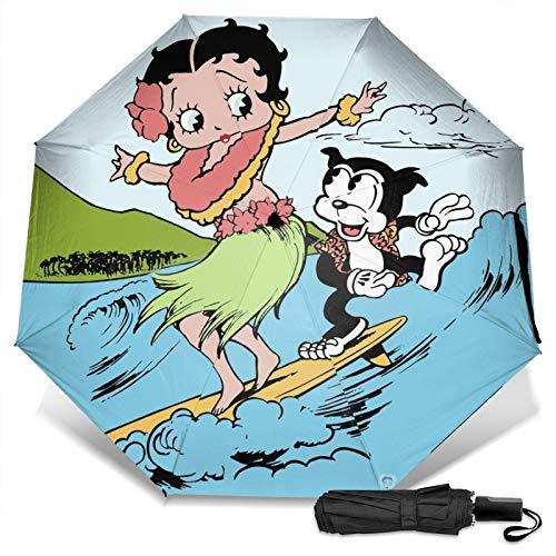 Paraguas Compacto Anti-Ultravioleta De Viaje Plegable Manual De Apertura/Cierre, Sombrilla Plegable Ligera para Exteriores A Prueba De Viento, Betty Boop Surfeando