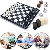 MUSCCCM Schachspiel, 3-in-1 Schachspiel 32CM x32 cm Einklappbar Schachbrett Pädagogische Speil mit Magnetischem für Kinder Geburtstag -