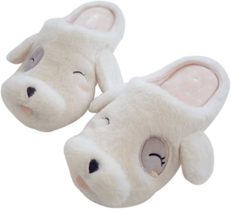 Nafanio Dog Velvet Home Slippers Women Cute Winter Warm Rubber Indoor Cotton Slides Women Bedroom shoes Flats