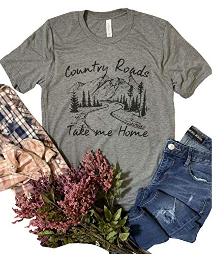 KIDDAD Women's Country Roads Take Me Home Letters Print Graphic Funny T Shirt Country Music Summer Casual Tops Size S (Grey)