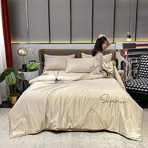 Goodlife-1 Comfort Lujoso Juego de sábanas Conjunto de Tapa de edredón Suave de Lujo de Seda con Funda de Almohada tamaño King para Hotel Home-Color de café_Edredón de Verano 200x230cm