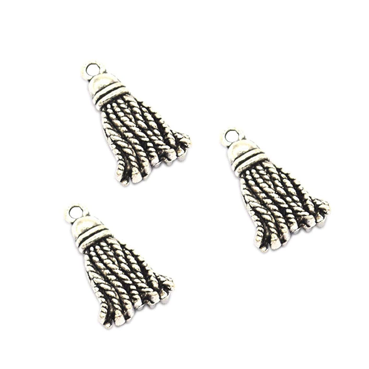 50pcs Vintage Antique Silver Alloy Tassels&Rope Knot Charms Pendant Jewelry Findings for Jewelry Making Necklace Bracelet DIY 20x11mm(50pcs Silver Tassels)